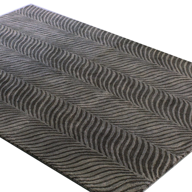 "Stripes // Grey Wool + Viscose Rug (2'6""L X 8'W)"