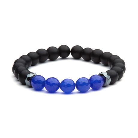 Matte Onyx Indigo Bead Bracelet // Black + Indigo
