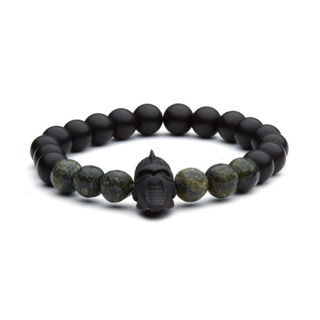 Warrior Head Bead Bracelet // Black + Greenish