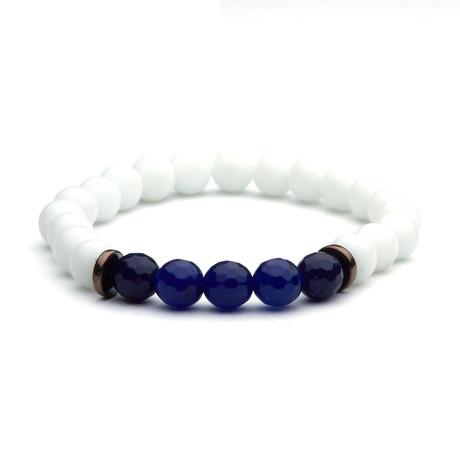 Bead Bracelet // White + Indigo