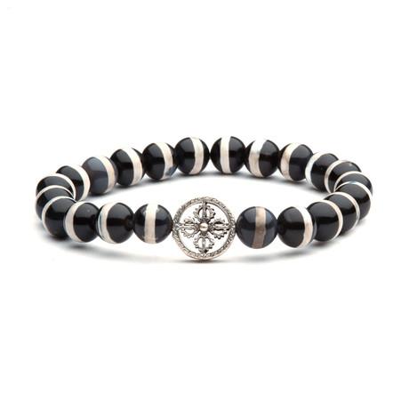 Planet Ottoman Charm Bracelet // Black + White + Silver