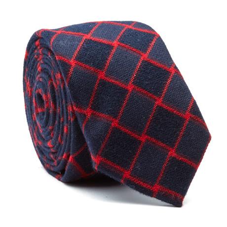 Skinny Tie // Black + Red Geometry