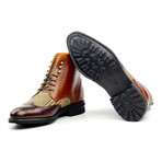 Military Brogue // Cognac + Medium Brown + Tweed (US: 7)