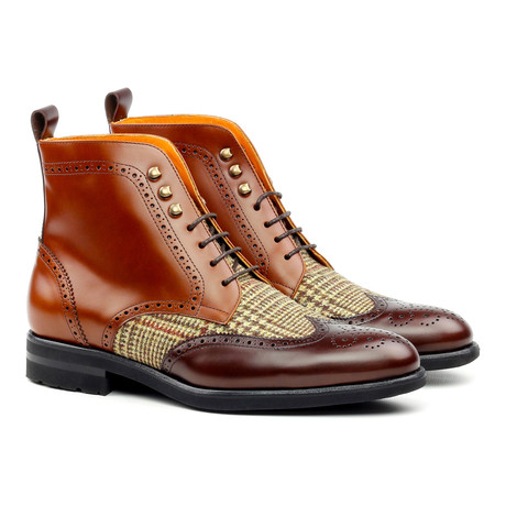 Military Brogue // Cognac + Medium Brown + Tweed (US: 6)