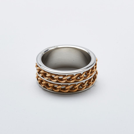Double Cuban Link Ring // 2-Tone Gold (Size 9)