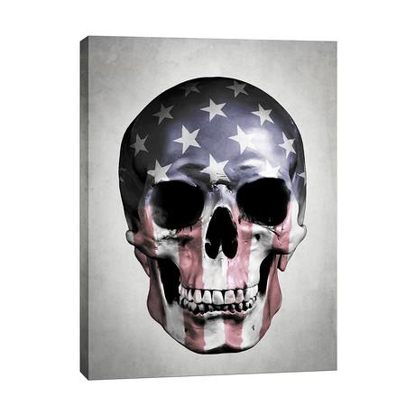"American Skull // Gray (12""W x 16""H x 0.75""D)"