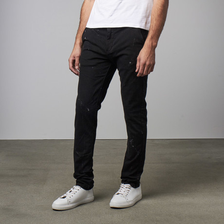 Slim Fit Splashed Pant // Black