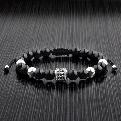 Stainless Steel Beaded Bracelet // Black Polished Onyx + Stainless Steel