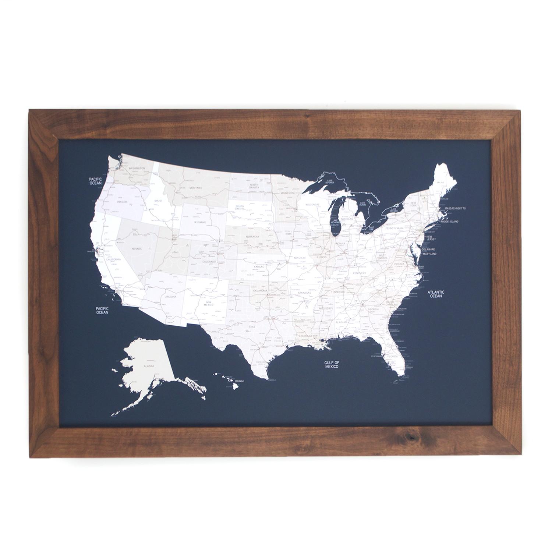 Push Pin United States Map Walnut Frame Navy 100 Pins