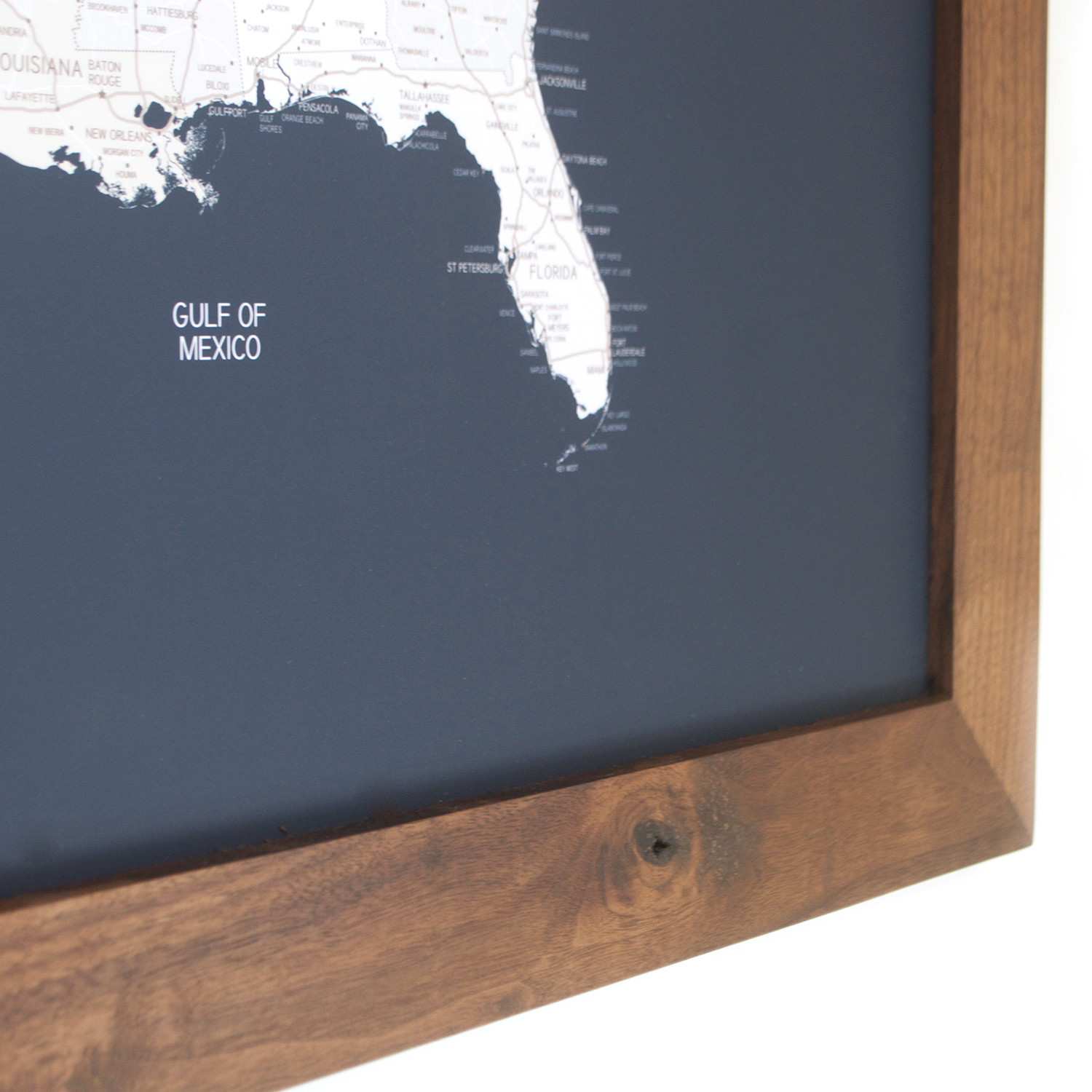 United States Map Picture Frame.Push Pin United States Map Walnut Frame Navy 100 Pins White