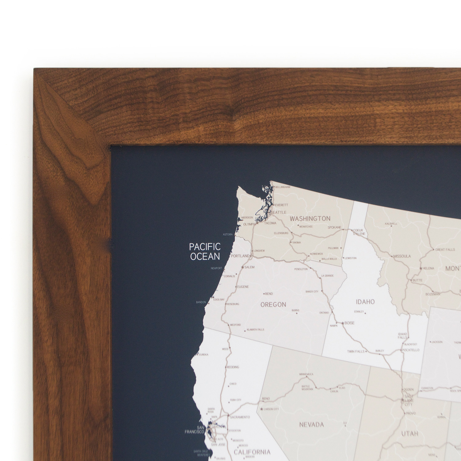 Push Pin United States Map Walnut Frame Navy Pins - Us map picture frame