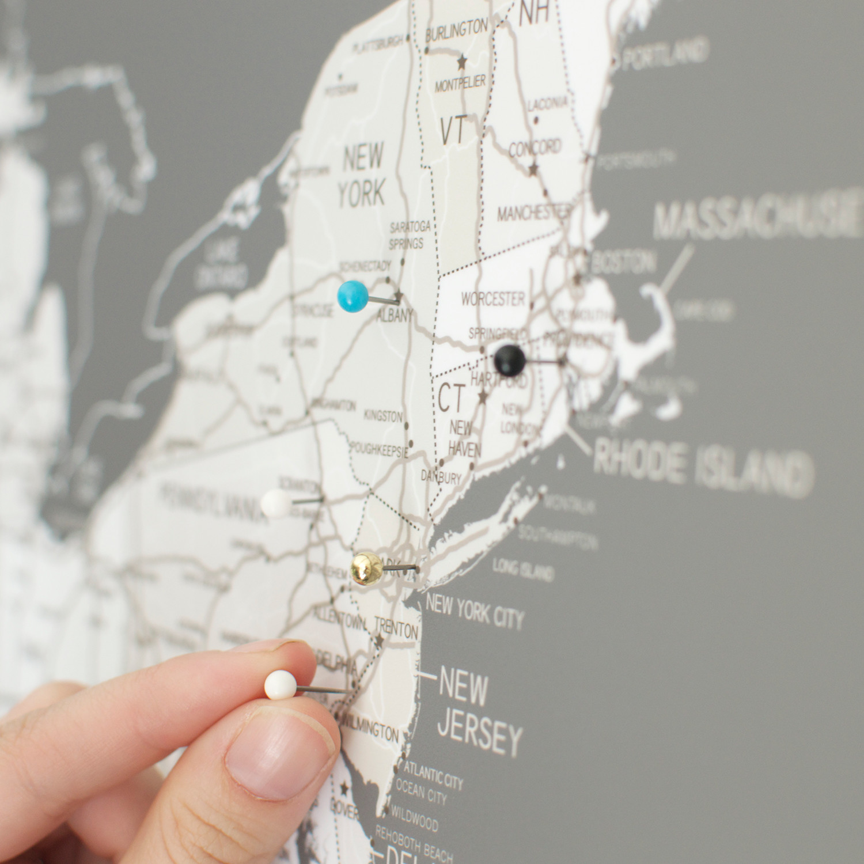 Push Pin United States Map Walnut Frame Gray 100 Pins