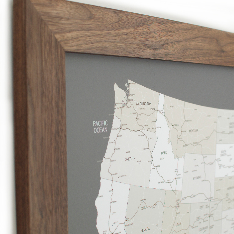 Push Pin United States Map Walnut Frame Gray 100 Pins White