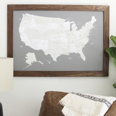 Push Pin United States Map + Walnut Frame // Gray (100 Pins // Black)