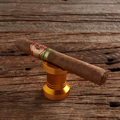 Fanelli Cigar Rest and Bottle Opener // Gold + Wooden Gift Box