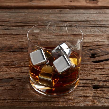 Steel Whiskey Stones + Wooden Gift Box