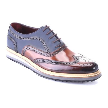 Two-Toned Wingtip Dress Shoe // Tobacco + Dark Blue