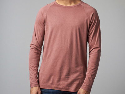 KuwallaTee Soft Shirts, Sustainably Sourced Long-Sleeve Raglan Vintage Tee // Withered Rose (M)