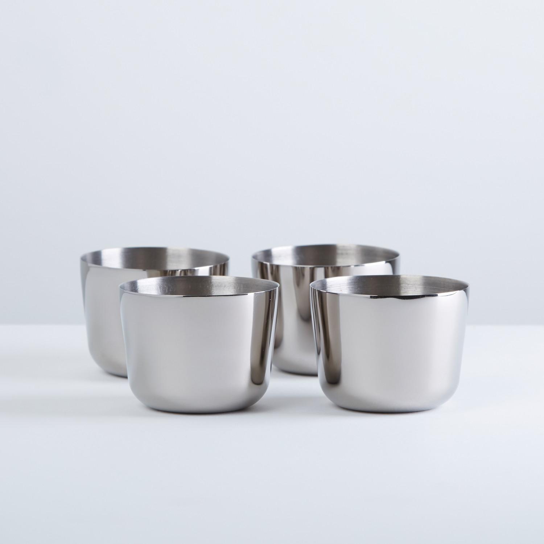 polished titanium shot glasses  set of   greyscale  touch of  - polished titanium shot glasses  set of