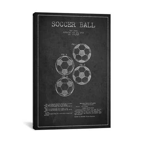 Soccer Ball Patent Blueprint // Charcoal