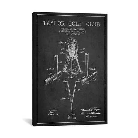 Taylor Golf Club Patent Blueprint // Charcoal