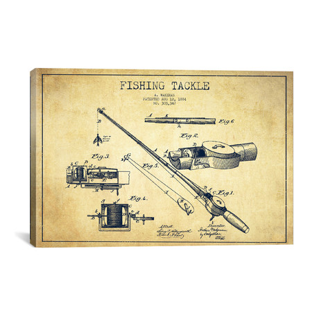 Fishing Tackle Patent Blueprint // Vintage