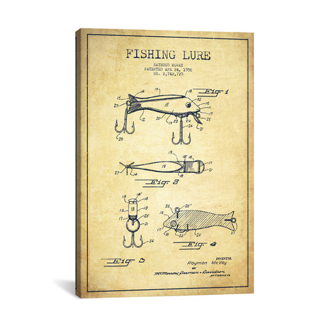 Fishing Lure Patent Blueprint // Vintage