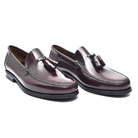 Leather Sole Tassel Loafer // Bordeaux