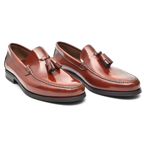 Rubber Sole Tassel Loafer // Redwood