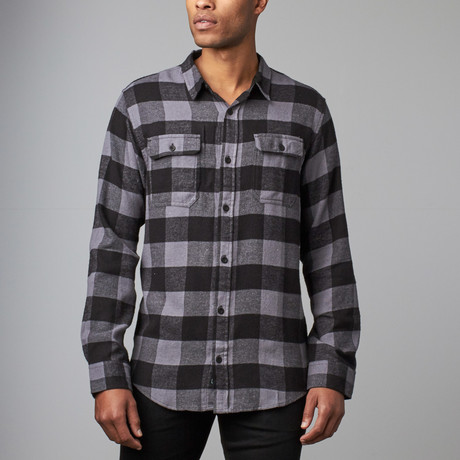Long-Sleeve Plaid Flannel Shirt // Charcoal