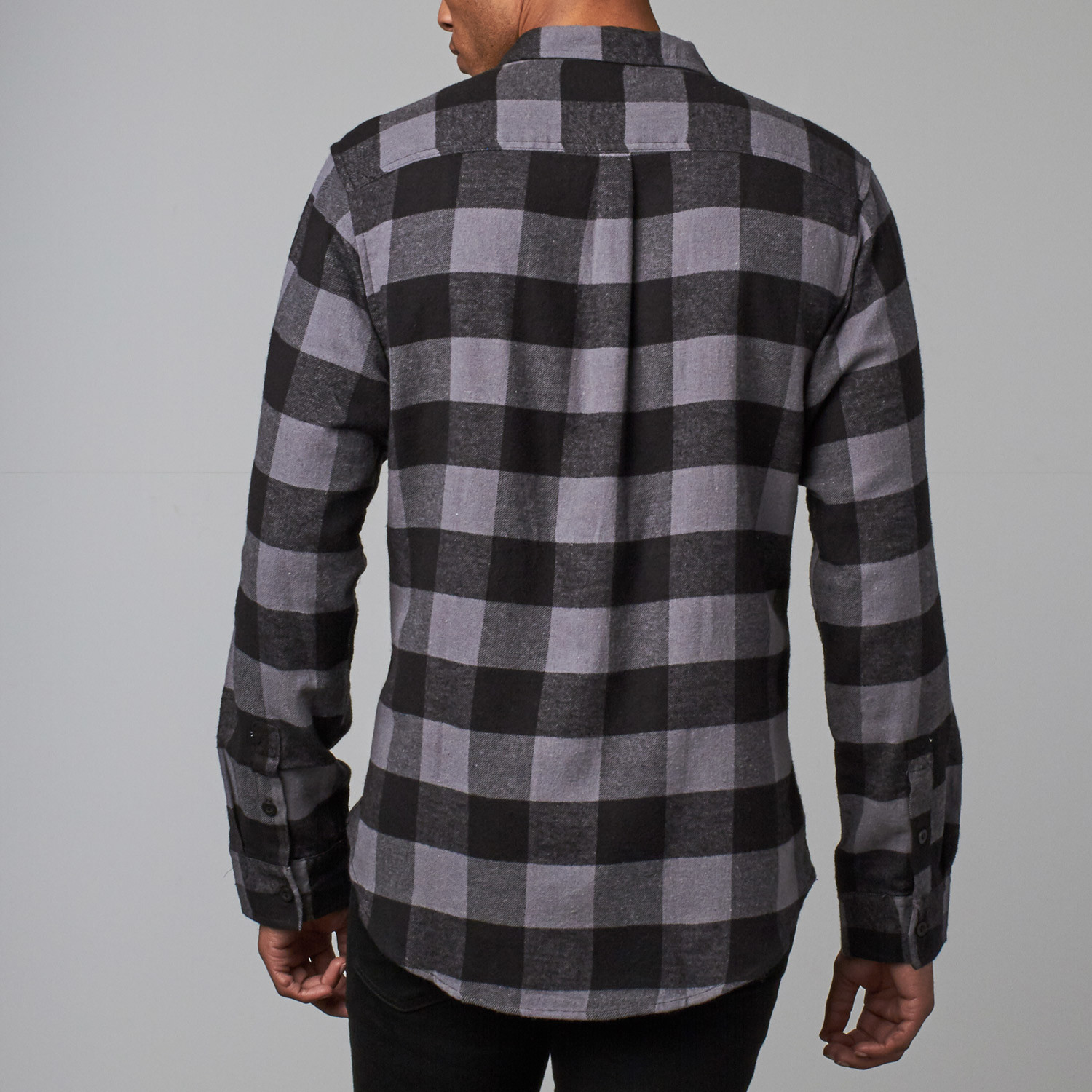 Long sleeve plaid flannel shirt charcoal s burnside for Flannel checked long sleeve shirt