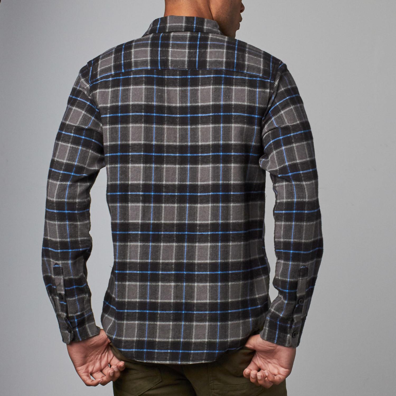 Long sleeve plaid flannel shirt black s burnside for Long plaid flannel shirt