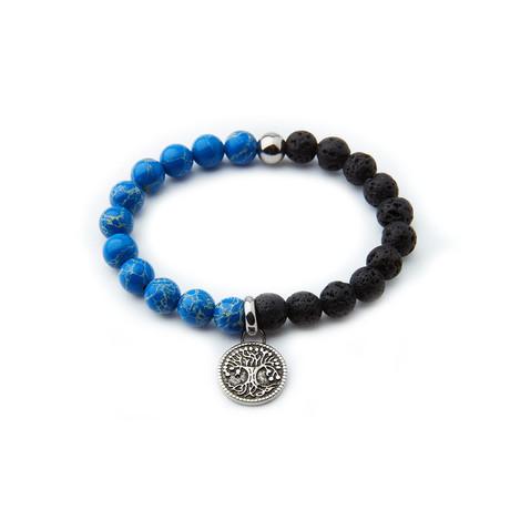 Agate + Sodalite Tree Of Life Bracelet // Black + Blue