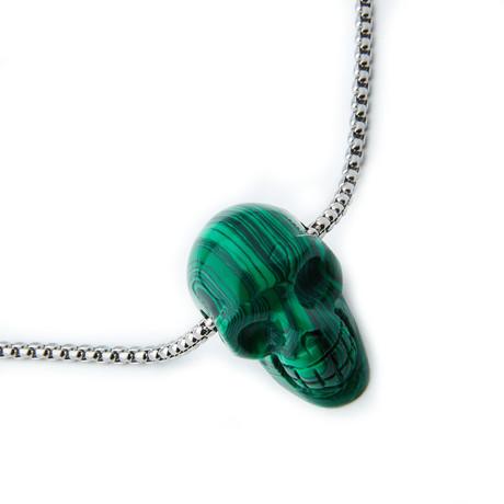 Dell Arte // Malachite Stone Skull Pendant Necklace // Green