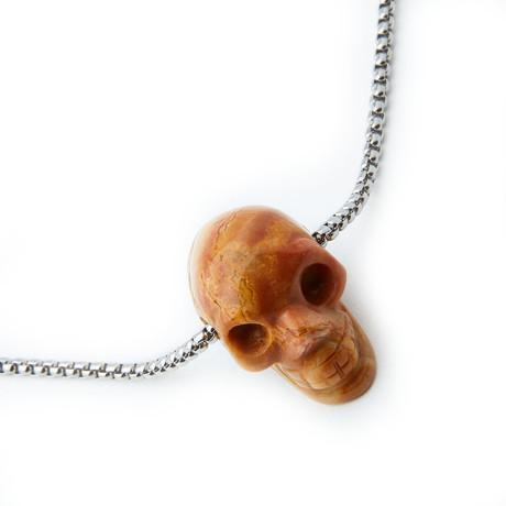 Dell Arte // Lace Agate Skull Necklace // Brown