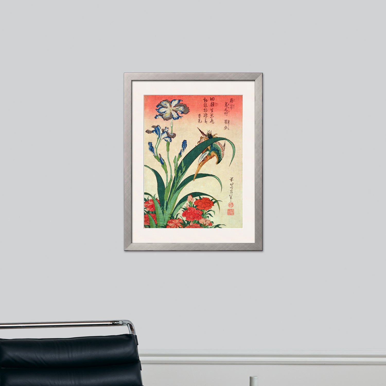 Kingfisher, Iris and Pinks, Pub. by Nishimura Eijudo, C ...