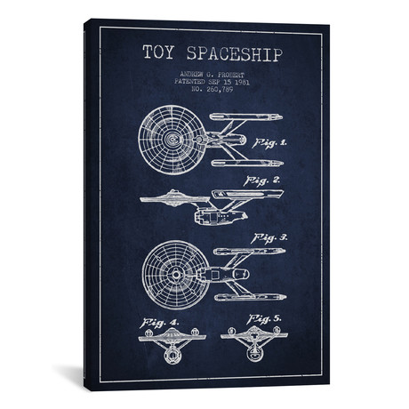 Toy Spaceship Patent Blueprint // Navy Blue