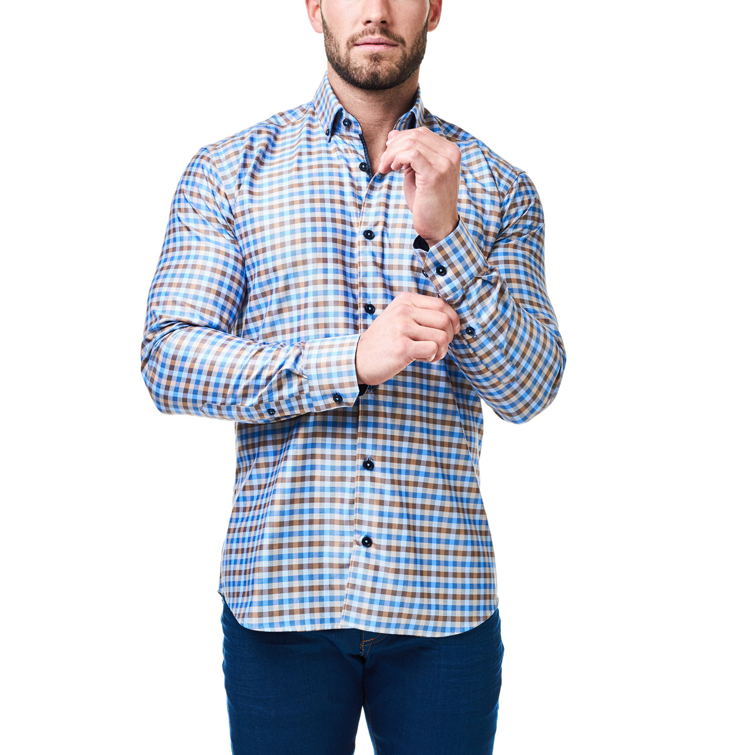 Kali check dress shirt blue tan xs maceoo touch for Blue check dress shirt