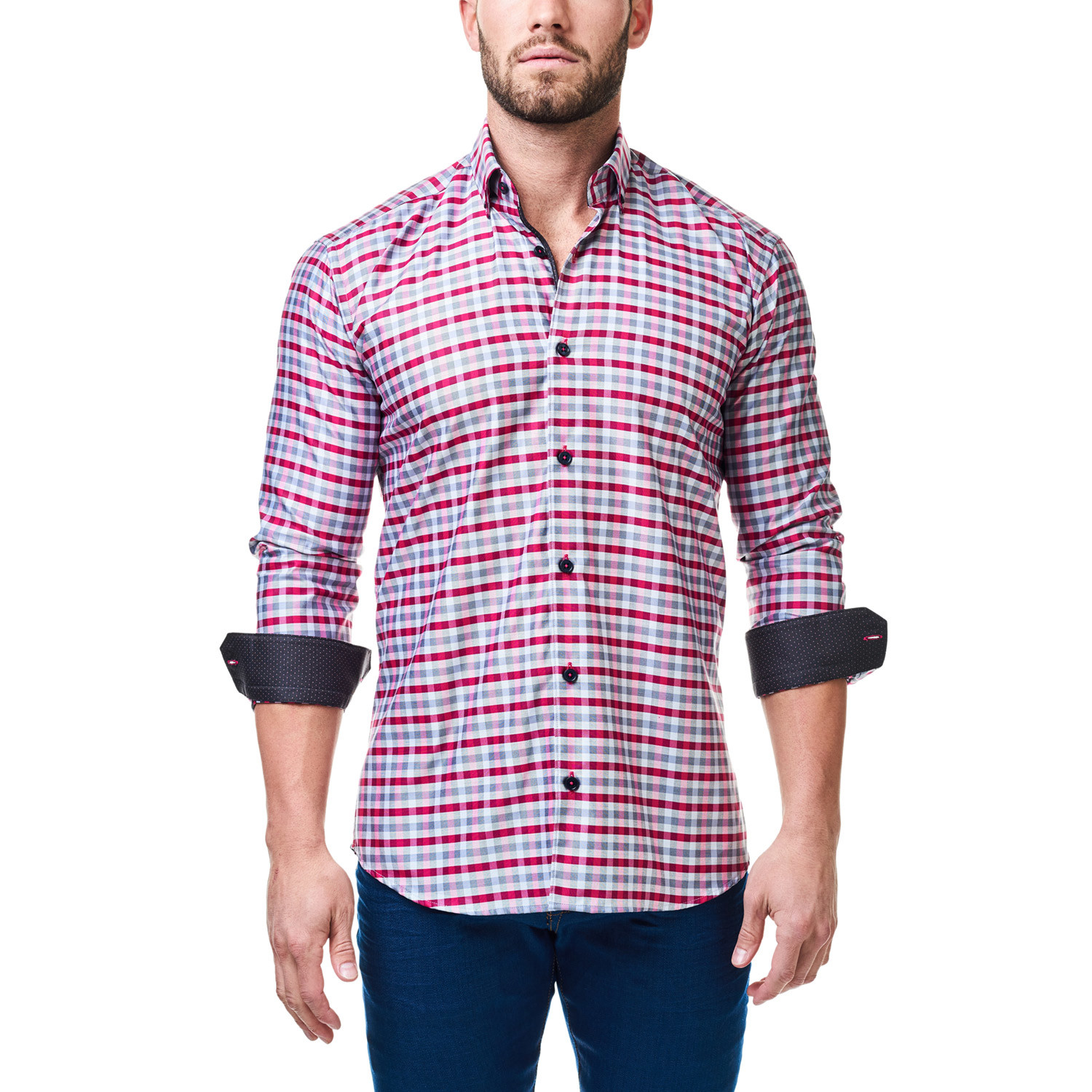 Kali Check Dress Shirt Grey Red S Maceoo Touch
