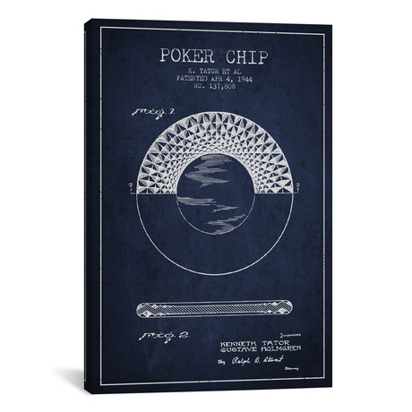 Poker Chip 1 Patent Blueprint // Navy Blue