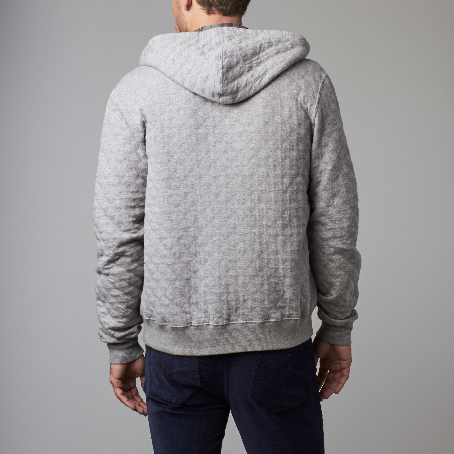 mens quilt zoom quilted greygrey peacocks zip previousnext hoodie thru