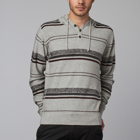 Hooded Drawstring Sweater // Light Grey