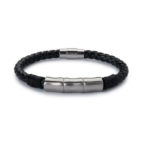 Leather Jawbone Bracelet // Silver Steel