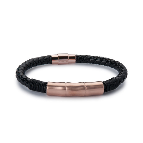 Leather Jawbone Bracelet // Rose Gold Steel
