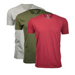 Ultra Soft Suede Crew-Neck // Burgundy + Military Green + Sand // Pack of 3 (S)