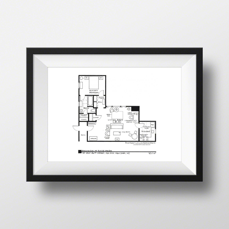 Seinfeld elaine benes apartment artist signed Seinfeld apartment floor plan