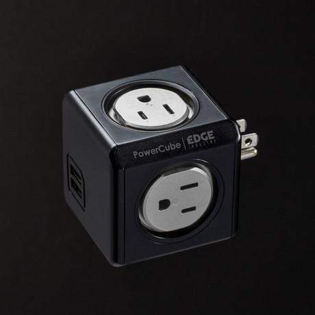 PowerCube Original USB Surge Protected // Black + Silver