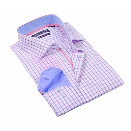 Button-Up Dress Shirt // Red + Blue Check