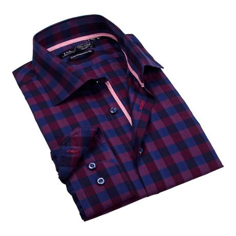 Button-Up Dress Shirt // Navy + Burgundy Plaid