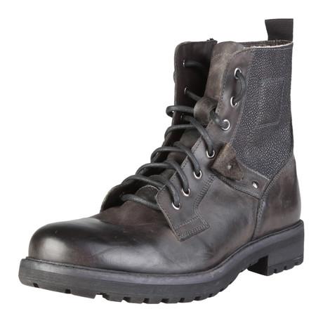 Sebastiano Mixed Texture Lace-Up Boot // Grey